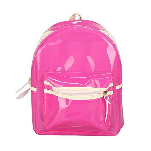 Backpack LED Light Decoration Shoulder Bag Jelly Candy Cr Schoolbag for Teenage Girls,Pink,24x13cm -
