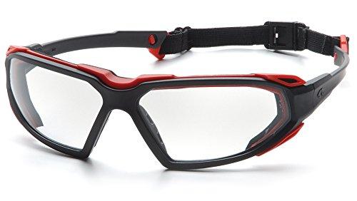Pyramex Highlander Safety Eyewear, Clear Anti-Fog Lens With Black/Red Frame