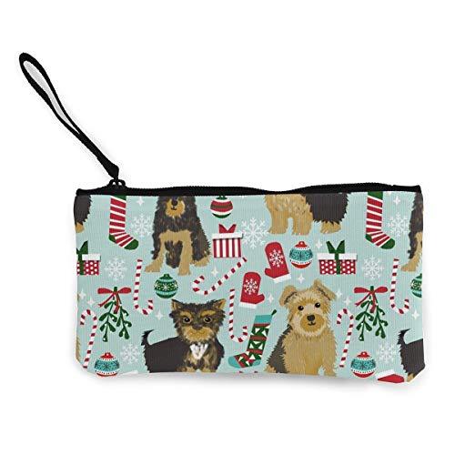 MODREACH Unisex Canvas Wristlet Wallet Clutch Purse Coin Pouch Pencil Bag Cosmetic Bag New Yorkie Christmas