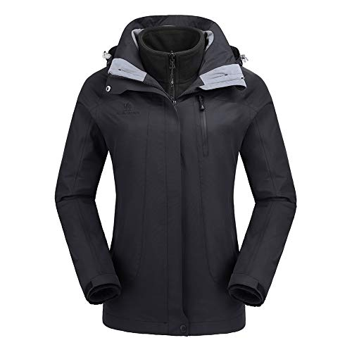 CAMEL CROWN Women's Ski Waterproof Jacket Fleece Inner Breathable Lightweight Rain Coats Hooded Windproof Softshell Snowboard Jacket for Hiking Camping Outdoor Travel by CAMEL CROWN (Image #1)