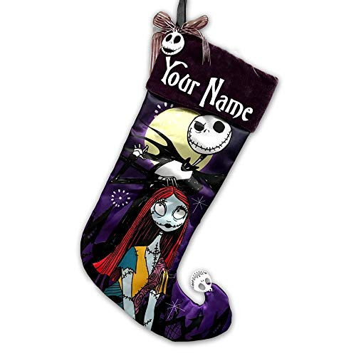 Personalized Officially Licensed Disney Tim Burtons The Nightmare Before Christmas 25th Anniversary Edition Hanging Christmas Stocking Decoration Featuring Jack Skellington and Sally with Custom Name