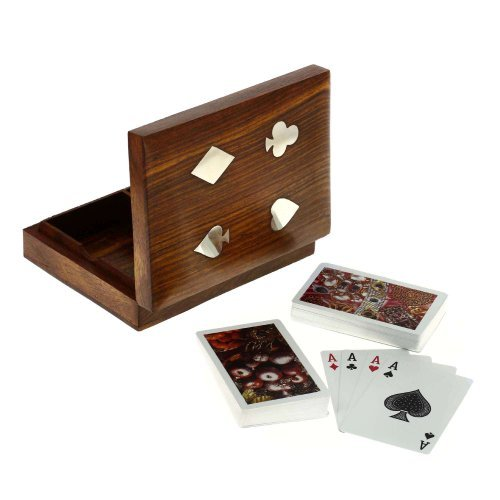 Artisans Of India Playing Cards Holder Box Standard Bicycle Double Deck Wooden Storage Case with Ace Designed Brass Inlay for Kids Adults (Playing Holder Case Card)