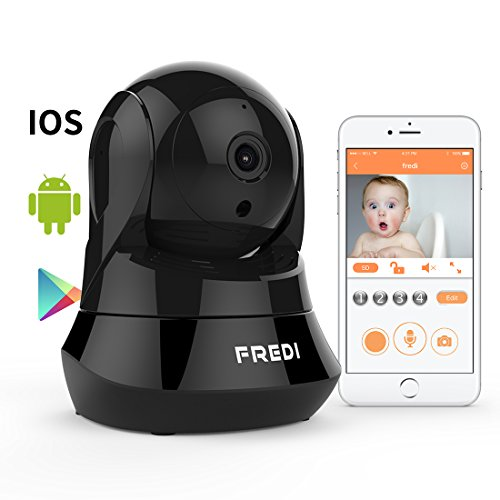 FREDI Day&Night Night Vision WiFi Camera with Remote Viewing Indoor Pan/Tilt Security IP Camera Baby Monitor Plug & Play, 2-Way Audio (Black)