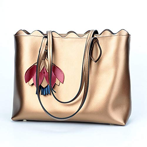 La Baachang De color Del Las Simple Cuero Bolso Mensajero Bronze Señoras Manera Color Hombro Silver qAYqf