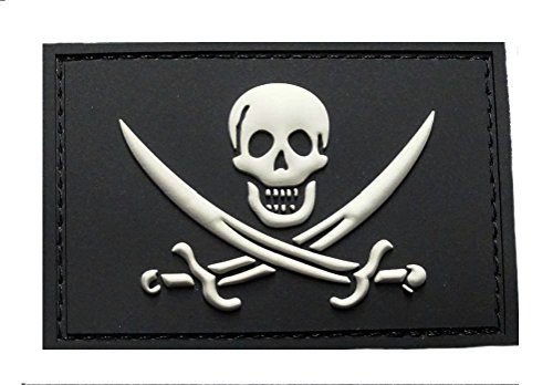 Jolly Roger Calico Jack PVC Rubber Morale Hook PVC - Patch Calico