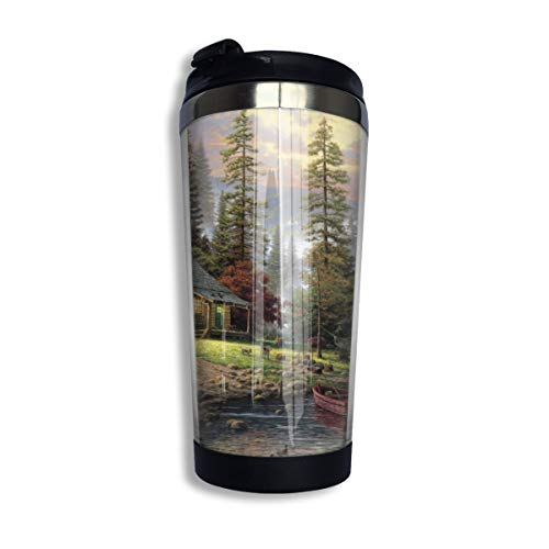 Oximing Customized Chalet Painting Forest Lake Wallpaper Insulator Stainless Steel Coffee Cup,14 Oz Travel Cup