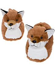 Silver Lilly Fox Slippers - Plush Novelty Animal Costume House Shoes w/Comfort Foam