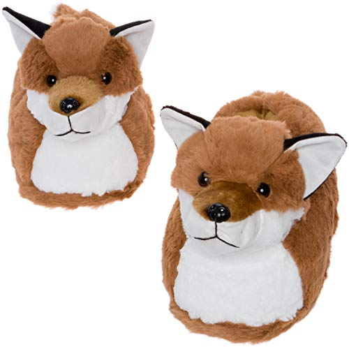 Silver Lilly Fox Slippers - Plush Novelty Animal Costume House Shoes w/Comfort Foam (M) Brown ()