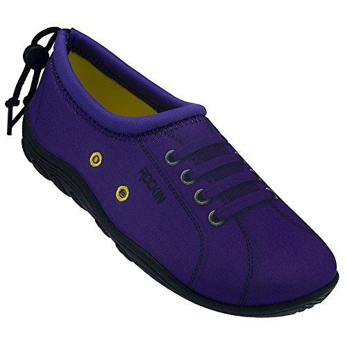 Rockin Footwear Womens Rockin Aqua Sneaks Water Shoe Purple rFTrW