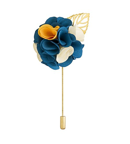 Knighthood Men's Bunch Flower with Golden Leaf Lapel Pin for Suit (Blue White & Yellow)