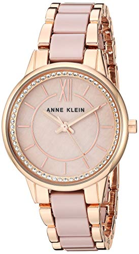 Anne Klein Women's Swarovski Crystal Accented Rose Gold-Tone and Taupe Ceramic Bracelet Watch, AK/3344TPRG