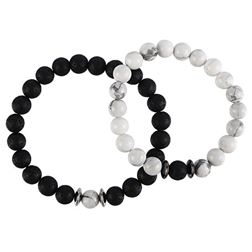 BaubleStar Long Distance Bracelets for Couples Relationship Stretch Beaded Promise Bracelet Friendship Gifts for Lovers Women Black White (Round Friendship Bracelets)