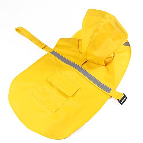 Rantow Yellow Adjustable Waterproof Pet Dog Raincoat Safety Coat Jacket with reflective safe strips for Small/Medium/Large dog, like Husky, Teddy, Samoyed (XS: (Huskies Umbrella)