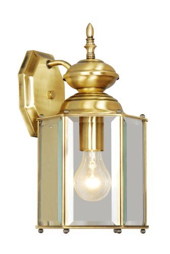 Livex Lighting 2007-01 Outdoor Wall Lantern with Clear Beveled Glass Shades, Antique Brass