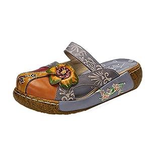 Sandali da Donna, Popoti Ciabatte in Pelle Pantofole Mocassini Pompe Estive Fiore Vintage Slip-On Senza Schienale Flip… 2 spesavip