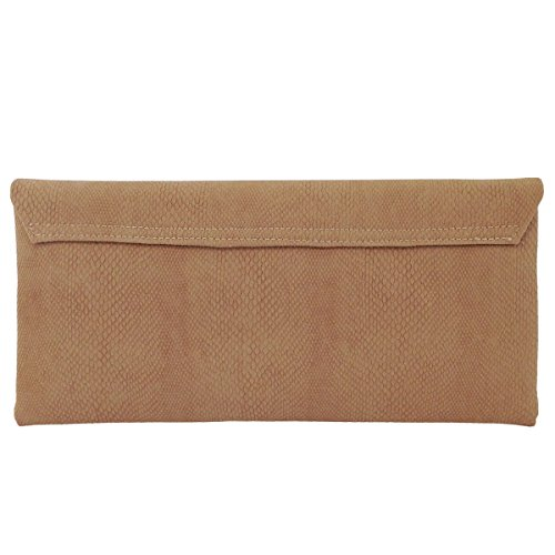 Matt Clutch Faux Python Print Leather Tan Envelope rx0r1Hqnw