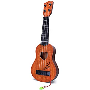 YEZI Kids Toy Classical Ukulele Guitar Musical Instrument, Brown