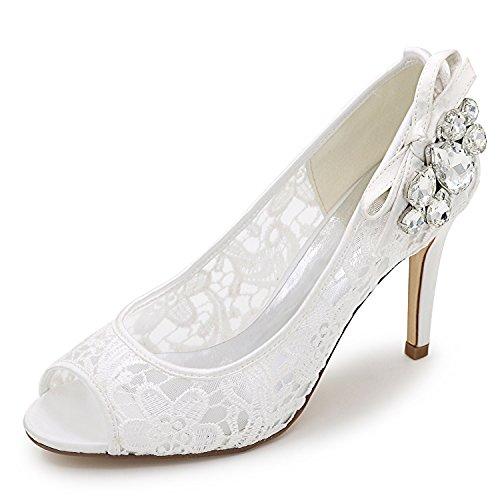 Toe 9cm Donna Pearl Crystal Tacco Scarpe Alti Peep Sposa Tondo 42 da White Taglia Elobaby da Tacchi Pizzo 35 Iwzf0q0Tx