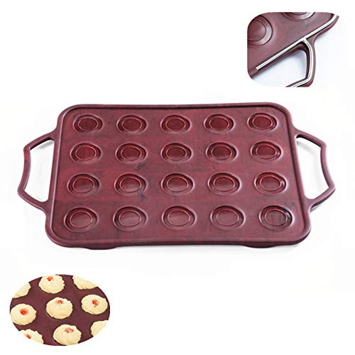 KeepingcooX Silicone Macaroons Baking Mat Mould with Handles, Classical Design Smart Innovation, Steel Frame to Anti-deformed, Beautiful Floating Color of Red Brown | Non Stick Silicone Baking Tray Tin KuXun UI-HNDD-49PA