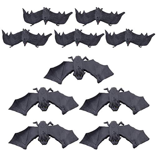 10Pcs Halloween Hanging Bats, Vankcp Realistic Fake Spooky Hanging Bats Tricky Props for Halloween Eve Party Decoration ()