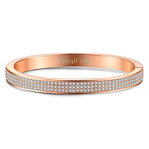14k Rose Gold Bangle Bracelet - GuqiGuli ♥Valentines Day Gift♥ Swarovski Elements Crystal Pave Oval Rose Gold-Tone Bangle Bracelet for Women, 7.4'' Circumference