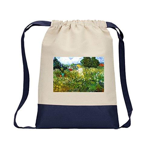 - Marguerite Gachet Garden #2 (Van Gogh) Canvas Backpack Color Drawstring - Navy