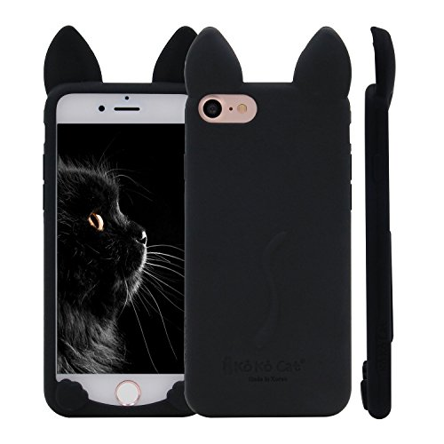 iPhone 7 Case, MC Fashion Cute 3D Cat Kitty Ears Soft Silicone Phone Case Cover for Apple iPhone 7 (2016) and iPhone 8 (2017) (Black) - Black Silicone Soft Cover Case