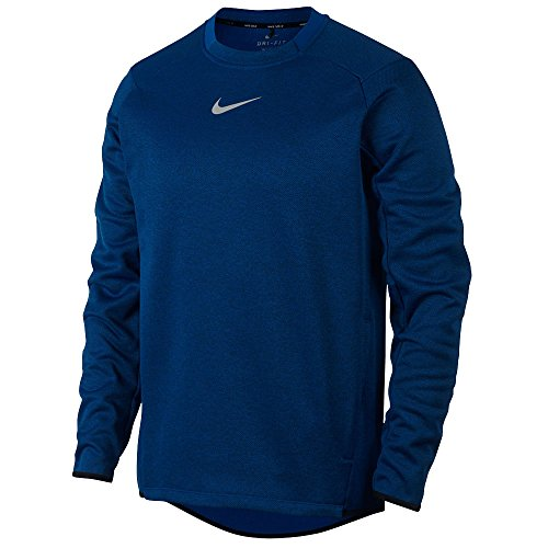 NIKE Men's Therma Fit LS Top Golf Pullover (Blue Jay/Black/Flat Silver, ()