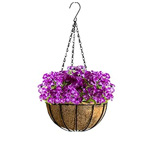 Mynse Hanging Flowerpot Artificial Plant Home Garden Outdoor Decoration Hanging Basket with Artificial Flower Silk Butterfly Daisy Purple with Red 83