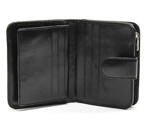 (Italian Bull Leather Compact Clutch Credit Card Wallet with ID and Zippered Coin Pocket)