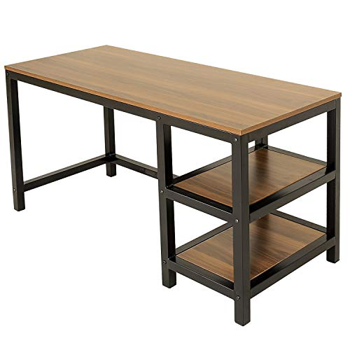 Vlush Industrial Computer Desk, Rustic Study Corner Writing Desk Office Desk with 2 Storage Shelves on Left or Right and Stable Metal Frame for for Laptops, Sturdy and Home Office