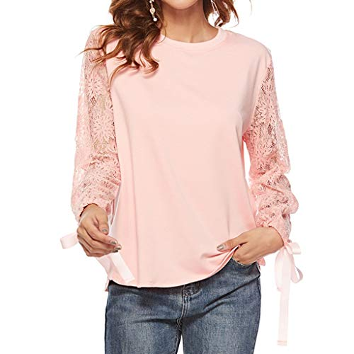 Sanyyanlsy Women's Lace Hollow Long Sleeve Bowknot O-Neck Tops Office Work Ladies Soft Fashion Slim T-Shirt Blouse Tees Pink