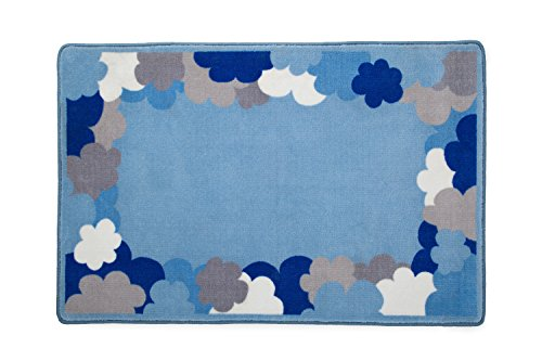 Delta Children Soft Kids Area Rug for Boys, (2.5 Foot X 4 Foot), Clouds/Blue, White & Grey