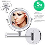 Double-Sided Magnifying Makeup Mirror, 6.7'' Diameter 1X/5X Adjustable Magnification Led Cosmetic Mirror Wall Mounted, 360° Rotating Function, Lighted Vanity Mirror, Chrome Extendable Swivel Mirror