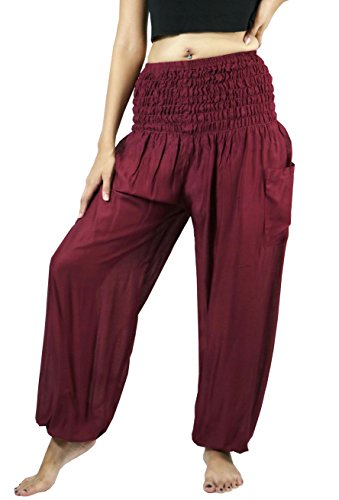 City Style Ankle Pant (NaLuck Harem Pants Women's Hippie Bohemian Boho Rayon Smocked Waist Solid Color Aladdin Yoga Casual Pants PJ26-DarkRed)