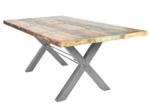Sit Möbel Table de table en bois vieilli laqué Multicolore ...