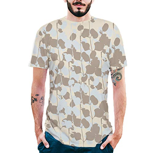 Stoota Fashion Mens Splash-Ink T-Shirt,3D Printing Tees Shirt Short Sleeve Blouse Tops Khaki