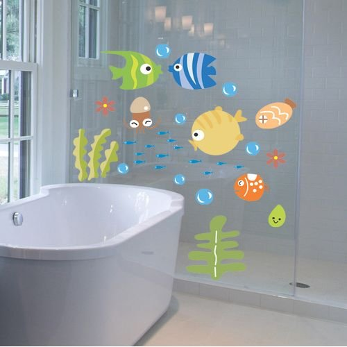 (Tropical Fish Bubble Wall Sticker Kids Room Nursery Kitchen Bathroom Wall Decal Free ShippingFree Shipping)