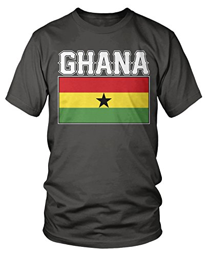 Amdesco Men's Ghanaian Flag, Love Home, Flag of Ghana T-Shirt, Charcoal Grey XL
