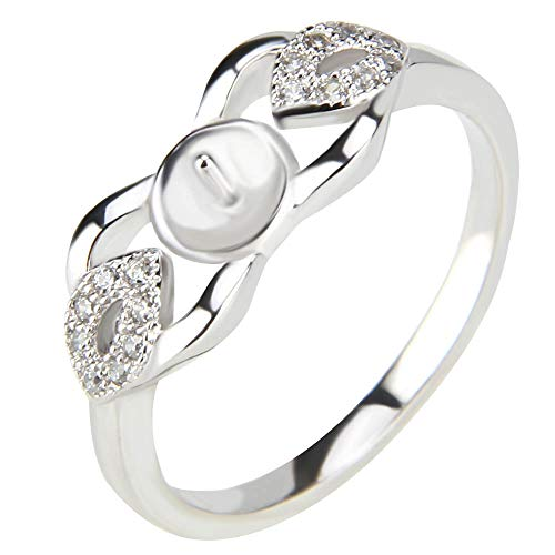 NY Jewelry 925 Sterling Silver CZ Elegant Leaf Design Rings for Pearl, Pearl Ring Fittings/Accessories/Mountings for Women Jewelry Making in Size 6/7/8/9/10