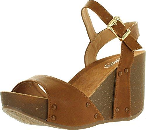 Refresh MARA-06 Women's Ankle Strap Comfort Wide Band Platform Wedge Sandal, Color:TAN, Size:9