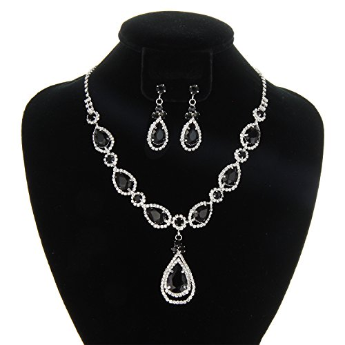 SP Sophia Collection Women's Elegant Crystal Teardrop Statement Necklace Dangle Earring Set in Black by SP Sophia Collection