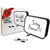 "Cinematic Light Box, LED Light Box, Cinema Light Box, Letter Light Box, Speech Bubble Light Box with 2 Dry Erase Markers, LED Light and USB Cable, Size 11"" x 10"" x 2"" (Plastic)"