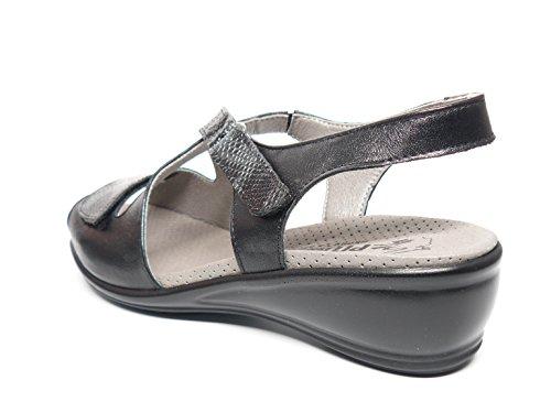 Cu A Negro De Dos Pitillos Velcros Baja Marca Mujer Sandalia La 1603 En 533 Piel Cierre Eq7wIv50x