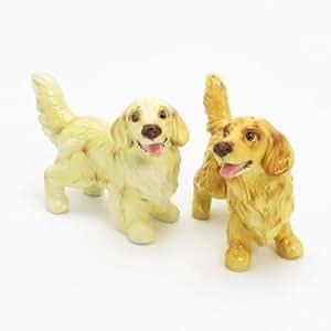 Golden Retriever Dog Ceramic Figurine Salt Pepper Shaker C00008 Ceramic Handmade Dog Lover Gift Collectible Home Decor Art and Crafts
