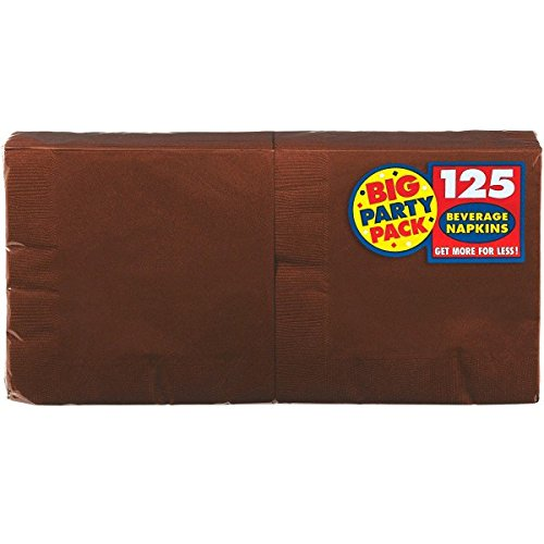 Amscan Big Party Pack Beverage Napkins Party Supply, Brown, One Size, 125ct -