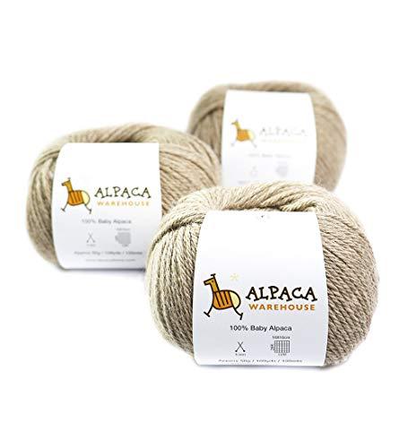 100% Baby Alpaca Yarn Wool Set of 3 Skeins Worsted Weight (Beige)