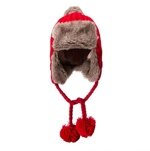 Hat for Women with Ponytail,Women Warm Crochet Winter Plus Velvet Thickening Slouchy Fur Siamese Hat,Dog Costumes,Red,One Size]()
