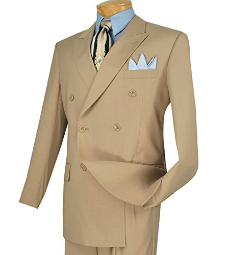 Beige Classic Flap (Vinci Men's Premium Solid Double Breasted 6 Button Classic-Fit Suit New [Color Beige | Size: 38 Regular/32 Waist])