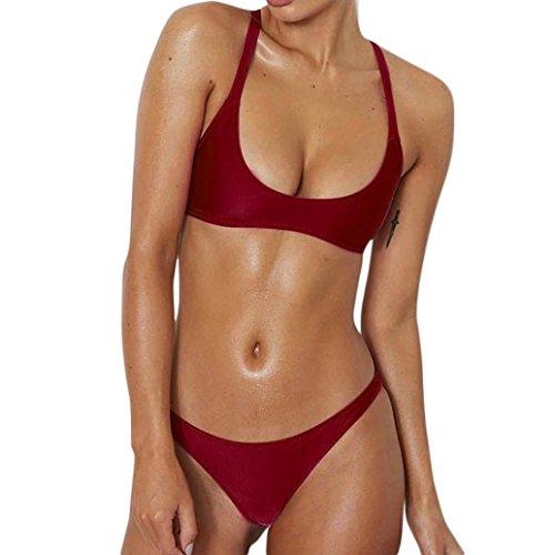 UFACE Räumungsverkauf Band Samt Zweiteiler Badeanzug Frauen Feste Bandagen Bikini Sets Zwei StüCk BadeanzüGe Badebekleidung Strand Anzug Rot nCfJXHZs